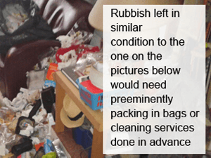 Rubbish packaging before collection service